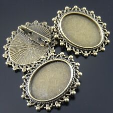 Alloy Lace Ellipse Shape Cameo Setting Pin Brooch Vintage Bronze Jewelry 15pcs