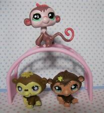 Littlest Pet Shop Lot of 3 Monkey Flower/Dot Eyes & Climbining Play Gym set
