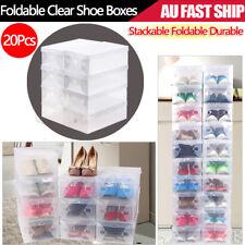 20x Transparent Clear Plastic Shoe Storage Box Foldable Stackable Boxes Organize