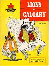 1963 Sept 30 CFL Football B C Lion vs Calgary Stampeders unmarked ex-nm Program