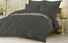3pc Pinch Pleated Duvet Quit/Cover  Solid 1000 TC 100% Egyiptia Cotton Dark Grey
