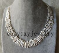lovely Cultured white tiny biwa fresh water pearl necklace 18 inch