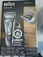 Braun Series 9 9376CC Wet & Dry Electric Shaver in Chrome charging station/case