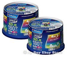 100 Verbatim Bluray Disc 6x Speed 25GB BD-R Blu ray Inkjet Printable Region Free