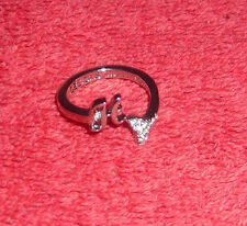 CHILDRENS INITIAL LETTER H ADJUSTABLE SILVER TONE COSTUME JEWELRY RING