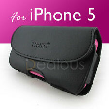 For iPhone 5/5S/SE Premium Black Leather Pouch Holster Case Cover w/ Bulky Case