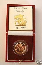 1985 QUEEN ELIZABETH II GOLD FULL PROOF SOVEREIGN with BOX & COA