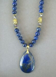Lovely Blue Lapis Lazuli Pendant with Genuine Lapis Beads