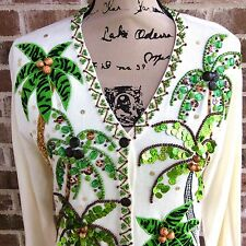 Palm Tree Embellished Sweater JUST B Button Front Cardigan Hawaiian Bling Large