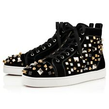 Christian Louboutin Mens Louis Cube Flat Black Gold Spike High Top Sneaker 44 11