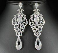 PAGEANT CRYSTAL RHINESTONE CHANDELIER DANGLE EARRINGS PROM E2090AB AB WHITE