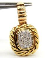 David Yurman 18k Yellow Gold  Diamond Albion Enhancer Pendant 37mm x 20mm 13.8gr