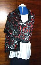 Velours devore écharpe/châle rouge/gris tourbillon motif sur noir nouveau
