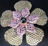 LEE ANGEL Beautiful Rhinestone Flower Pin