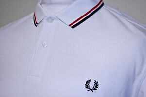 Fred Perry Twin Tipped Polo Shirt - XL - White/Red/Navy - Iconic M3600 - Mod Top