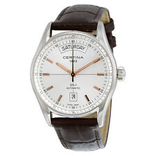 certina ds 1 day date automatik silber dial brown leather damenuhr