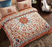 Wake In Cloud - Mandala Comforter Set Queen, 3-Piece Orange Bohemian Boho Chic