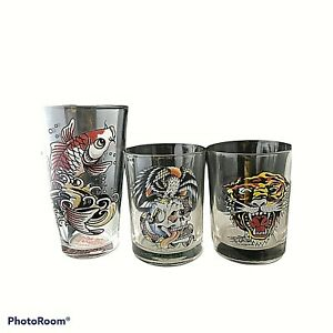 Ed Hardy Lion Hawk and Koi Drink Lot of 3 Cocktail Glasses