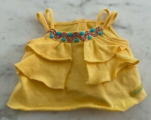 """American Girl Doll Yellow Ruffle Tank Top with Blue Beads Beading Fits 18"""" Dolls"""