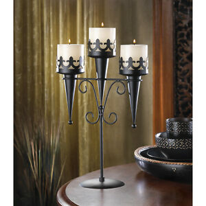 """MEDIEVAL TRIPLE CANDLE STAND - 15 7/8"""" HIGH - IRON - BLACK"""