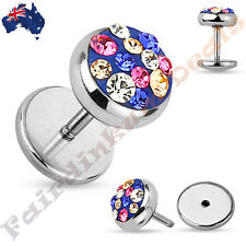 Clear, Pink & Blue Crystal Paved 16 G 316L Surgical Steel Fake Ear Plug