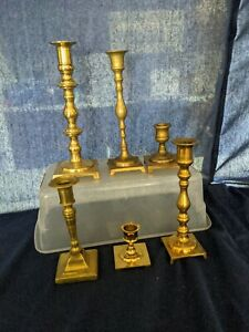 Lot of 6 Vintage Brass Candlesticks Candle Holders Diferent Heights