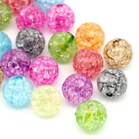 L/P: Mix Klar Acryl Krackle Spacer Perlen Beads Basteln 12mm