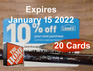 Twenty (20) LOWES 10% OFF At Competitors DoNotUseAtLowes. ExpJan 15 2022