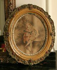 Toile encadrée cadre ovale bois sculpté stuc peint  XIXe  45 cm x 40 cm