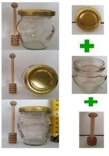 Set vasetto vetro orcio + tappo alveare + dosamiele per bomboniere segnaposto