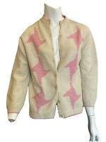 Vintage 1960s Stefano Cardigan Ivory and Pink Star-like Shapes XL Lambswool knit