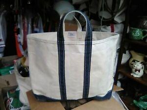 Vintage Lge Blue LL Bean Boat Tote Canvas Bag Freeport Maine Green & Blue Label