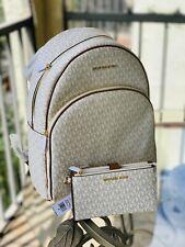 Michael Kors Women Large School Travel Leather Backpack Bag Vanilla Gold +Wallet