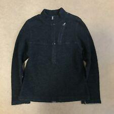 Ibex Womens Merino Wool Half Zip Sweater Pullover Black Grey S