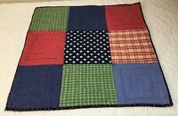 Patchwork Quilt Wall Hanging, Large Squares, Plaids, Checks, Stars, Red, Navy