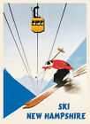 Skiing in Cannon Mountain Ski Area New Hampshire Vintage Poster Repro FREE S/H