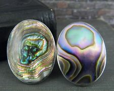 Abalone Oval Screw Back Earrings Taxco Mexico Sterling Silver &