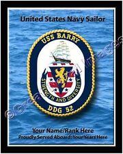 USS Barry DDG 52 Personalized Ship Crest Print on Canvas 2D Effect