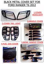 BLACK MATTE COVER SET HEADLIGHT TAIL LIGHT GAS DOOR HANDLE BOWL FORD RANGER 12