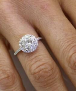 DIAMOND RING 3.24 CARAT ROUND SOLITAIRE HALO ACCENTS F S1 18K WHITE GOLD SHINY