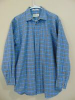 Orvis Men's Size Large Plaid Button up Shirt Blue Pocket Collared Cotton