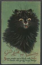 c.1910 Nister/Dutton LOUIS WAIN LUCKY BLACK CAT Valentine Postcard No. 2272