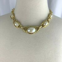Faux Pearl Gold Tone Collar Necklace Vintage Classic Chunky Runway Style Link