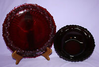 "Avon Cape Cod 1876 Ruby Red Glass 10-1/2"" Plate & 8-3/4"" Serving Bowl"