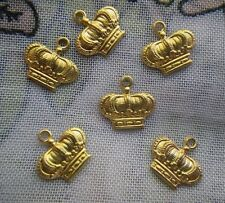 Tiny Imperial Crown Charms Brass 16x11mm 6 Pcs