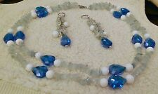 "Gorgeous Aquamarine Chip w/Quartzite/Glass Bead Accent 20"" Necklace/Earrings Set"