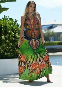 Embellished Draw String Halter Maxi / Kaftan Dress. Can be worn 5 different ways