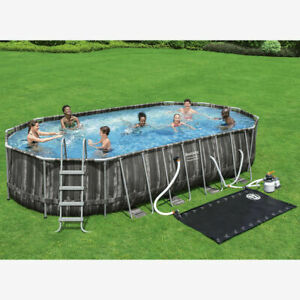 Bestway 22 x 12ft Power Steel Oval Frame Pool with Filter Pump + Solar Power Pad