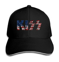 Kiss Band LOGO Cotton Sandwich Bill Fitted Baseball Hat Unisex