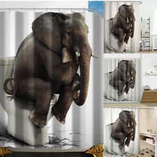 Shower Bath Curtain Bathroom Waterproof Polyester Fabric Elephant Pattern&Hooks